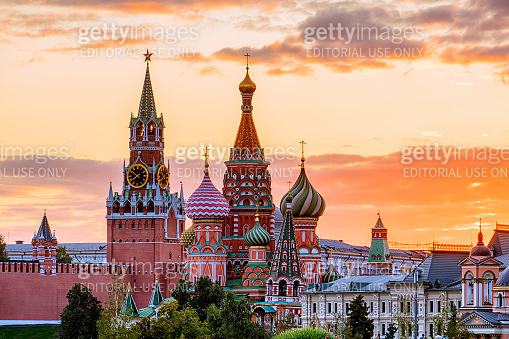 St. Basil's Cathedral and the Spassky Tower of the Moscow Kremlin