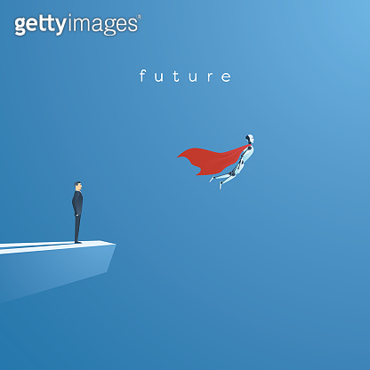 Ai or artificial intelligence vector concept with ai robot flying as superhero. Symbol of future technology, advance, automation and science