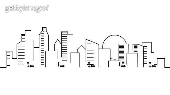 City landscape template. Thin line City landscape. Cityscape, sun Isolated outline illustration. Urban life Vector illustration
