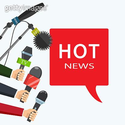 Vector illustration. Hot news, mass media concept.