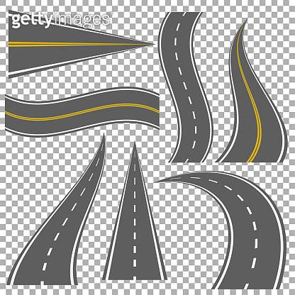 Set of bending roads and highways vector illustrations