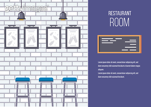 Interior of building of modern restaurant, cafe room.
