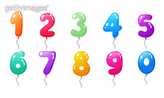 Set of colored balloons with numbers, from zero to nine.