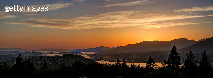 panoramic sunset view from mountaintop, Burnaby Mountain, British Columbia, Canada