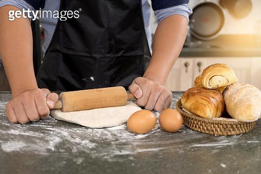 Man hand prepare bakery raw material