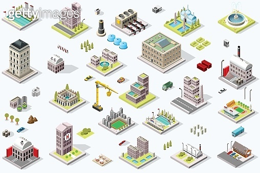 Isometric City Building Icons