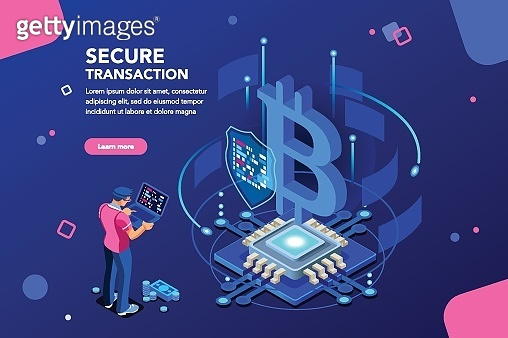 Cryptocurrency Isometric Concept