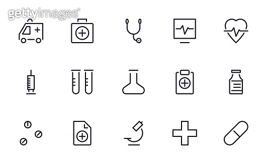 Medical icons set outline style