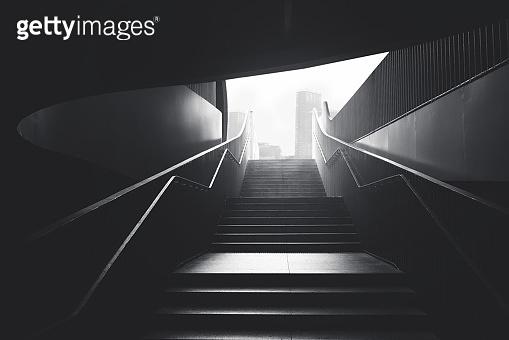 black urban stairs underground
