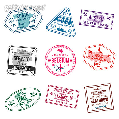 Set of visa stamps for passports. International and immigration office stamps. Arrival and departure visa stamps to Europe - Spain, Greece, Germany, Turkey, Italy, France, United kingdom etc.