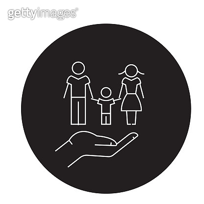 Family medicine black vector concept icon. Family medicine flat illustration, sign