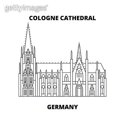 Cologne Cathedral, Germany  line icon concept. Cologne Cathedral, Germany  linear vector sign, symbol, illustration.