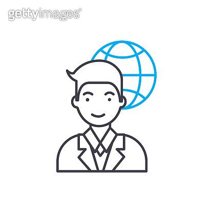 International corporation employee linear icon concept. International corporation employee line vector sign, symbol, illustration.