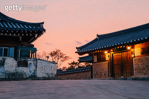 Gyeongju Gyochon Hanok Village, Korean traditional house and sunset view