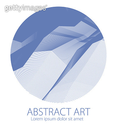Abstraction art linear textured element in round shape. Vector abstract 3d perspective background for layouts, posters, banners, print and web. Cool and motional.