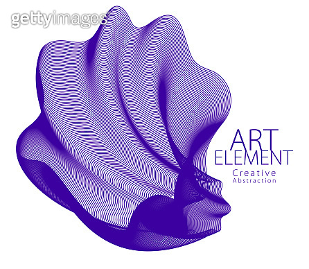 Abstract artistic vector flower line art, artistic linear design element isolated over white background.