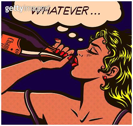 Pop art comics careless girl binge drinking to drown her sorrows alcohol abuse vector illustration