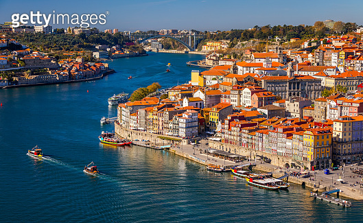 Porto, Portugal old town on the Douro River. Oporto panorama.