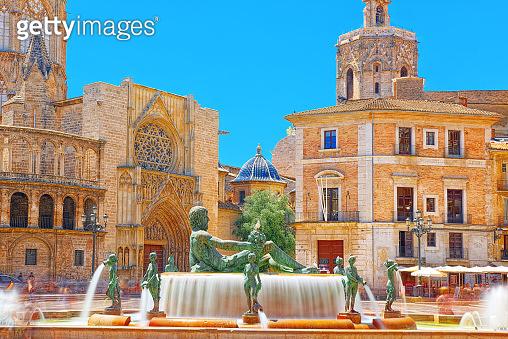 Valencia Fountain Rio Turia on Square of the Virgin Saint Mary, Spain.