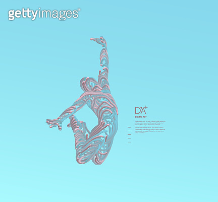 Leadership concept. Jumping man. Emblem for sport championship. 3d vector Illustration. Wire connection to virtual reality.
