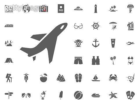 Plane, aircraft icon. Summer holidays and Traveling vector icons set.