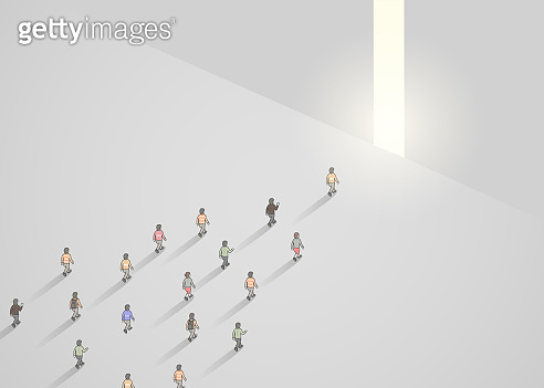 Business concept illustration of crowd of people walking into narrow door. Leader concept.