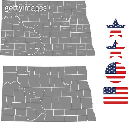 North Dakota county map vector outline in gray background. North Dakota state of USA map with counties names labeled and United States flag icon vector illustration designs