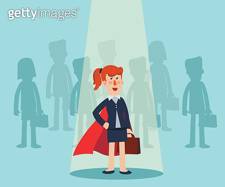 Super Business woman standing in spotlight. Cartoon superhero standing with cape waving in the wind. Successful hero businesswoman. Success, leadership and victory in business vector concept