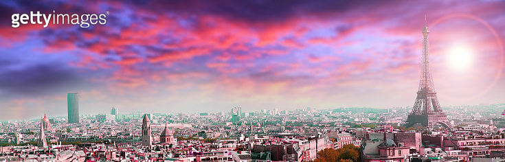 panoramic view of Paris on sunset