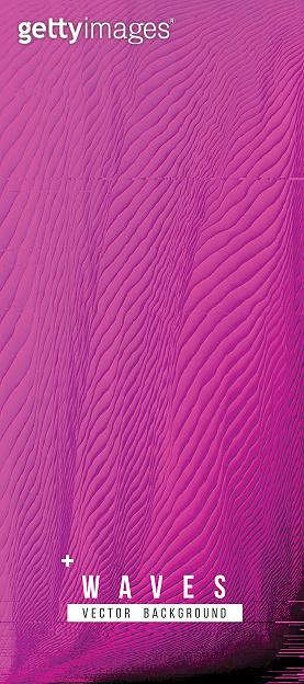 Digital Glitch Purple Waves Abstract Grunge Background