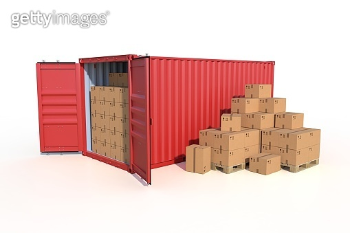 Ship cargo container side view with cardboard boxes