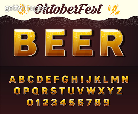 Vector Beer Font. Octoberfest alphabet. Letters and numbers