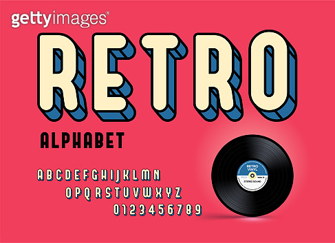 Modern colorful retro font and alphabet. Retro Typography. Framed Outlined Typeface. Vector Sans Serif Font.