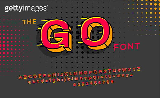 Red 3d font with motion effect. Typography alphabet in a set. Vector alphabet with tail effect.