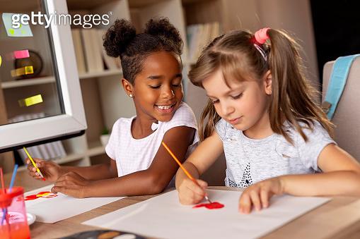 Girls doing an art project