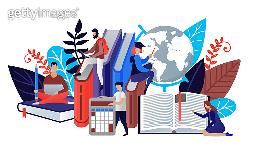 Education concept in flat style. Vector illustration people learn and gain knowledge. The creative design of the schedule students learn on books. Modern vector for banners, websites, brochures