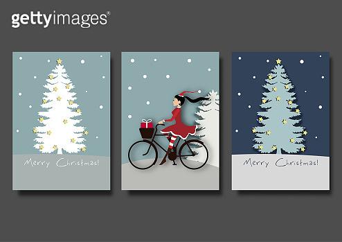 Christmas card or winter season background set vector illustration template