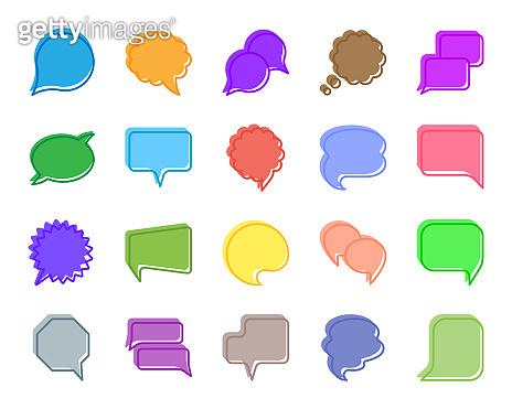 Speech Bubble color silhouette icons vector set