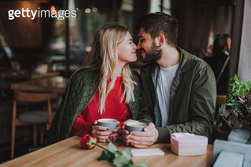 Beautiful young couple touching noses and smiling at cafe