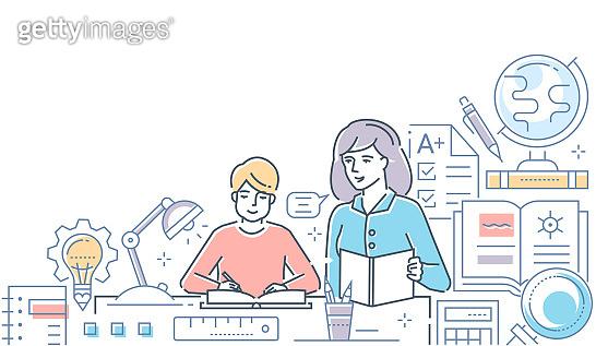 Tutor - modern line design style vector illustration