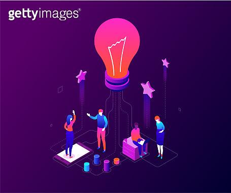 Creative team - modern colorful isometric vector illustration