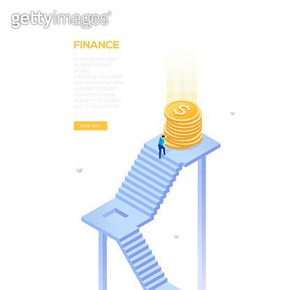 Finance concept - modern isometric vector web banner