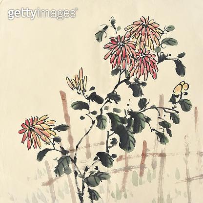 Chrysanthemum flowers. Traditional oriental ink painting