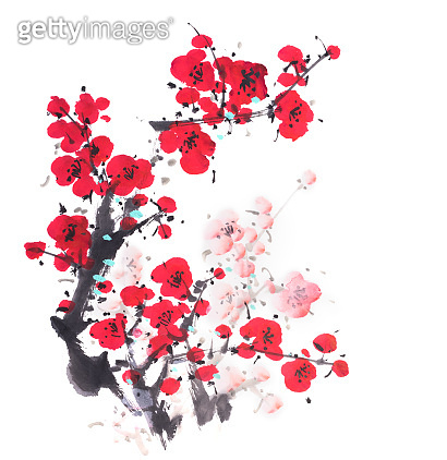 Traditional chinese painting Spring plum blossom