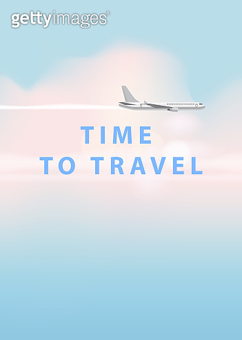 Flying plane and cloud on blue sky background. Concept design template of time to travel. Vector illustration in cartoon style, banner, poster, isolated, illustration