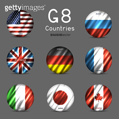 G8 National round flag icon set