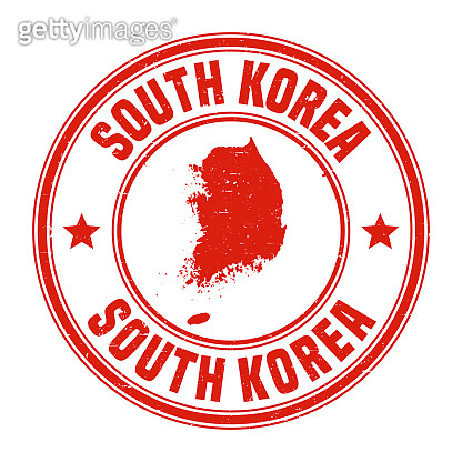 Korea South - Red grunge rubber stamp with name and map