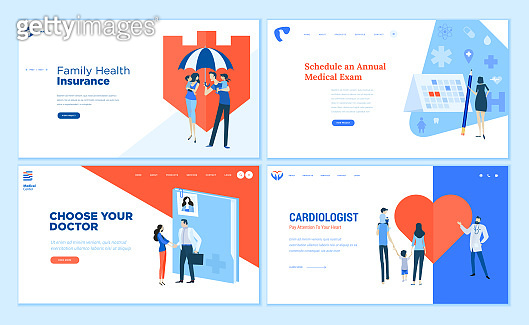 Web page design templates collection of health insurance, medical exam, doctor's choice, cardiology