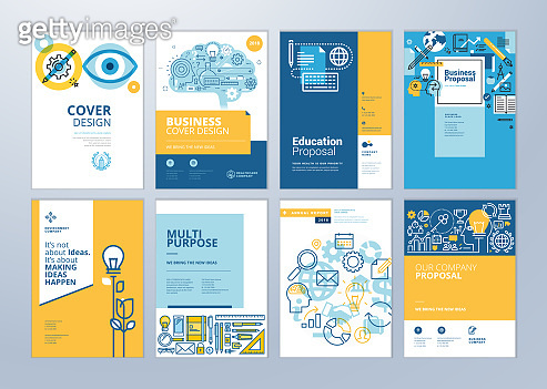 Set of brochure design templates on the subject of education, school, online learning