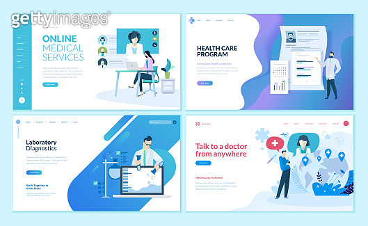 Set of web page design templates for online medical support, health care,  laboratory, medical services.